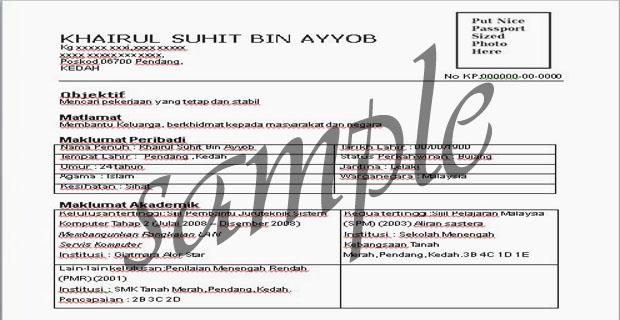 contoh resume lepasan spm contoh resume