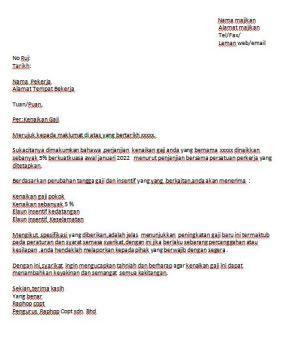 Surat Rasmi Permohonan Kenaikan Gaji Terengganu Y