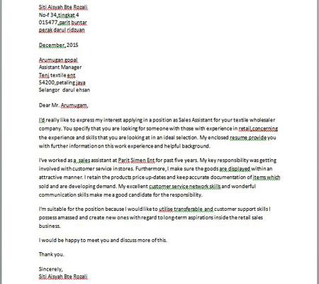 Contoh Surat Permohonan Kerja Bahasa English — Contoh Resume