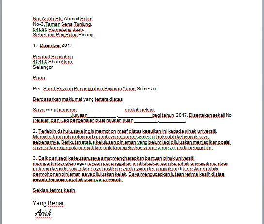 Contoh Surat Rasmi Rayuan Kolej Uitm Contoh Surat