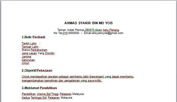 contoh resume pembantu tadbir kewangan contoh resume