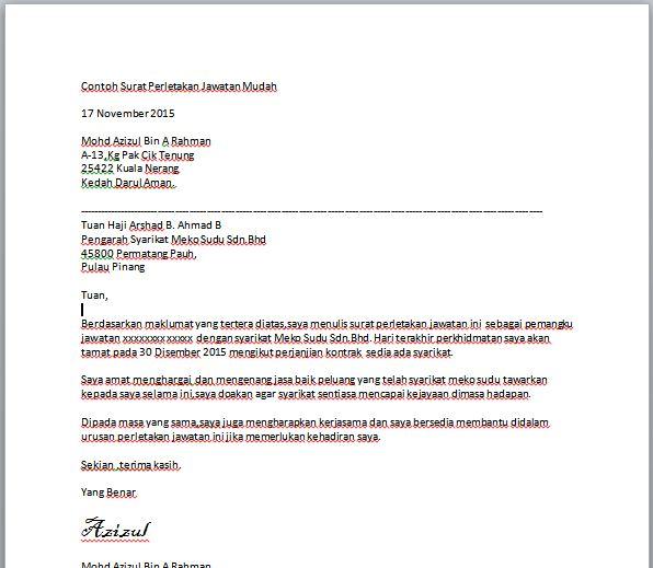 Contoh Surat Berhenti Kerja Mudah  Contoh Resume