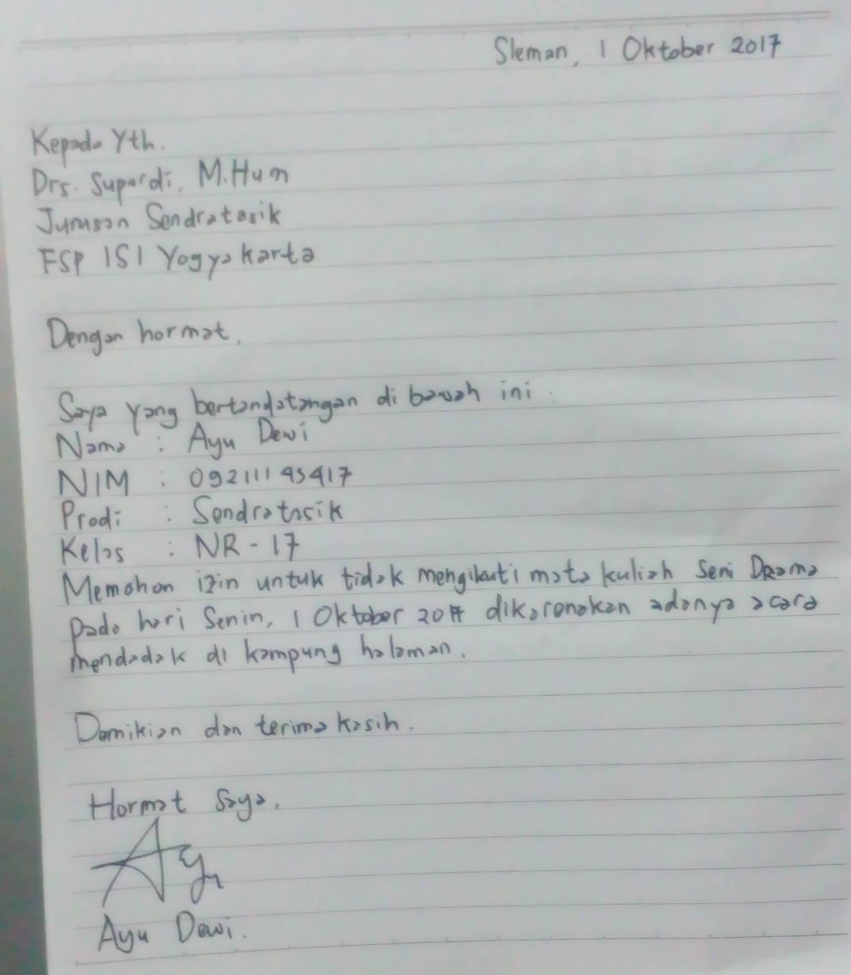 Contoh Surat Izin Kuliah Tulis Tangan
