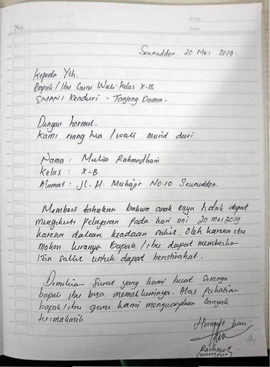 Contoh Surat Izin Sakit Tidak Masuk Kerja Tulisan Tangan