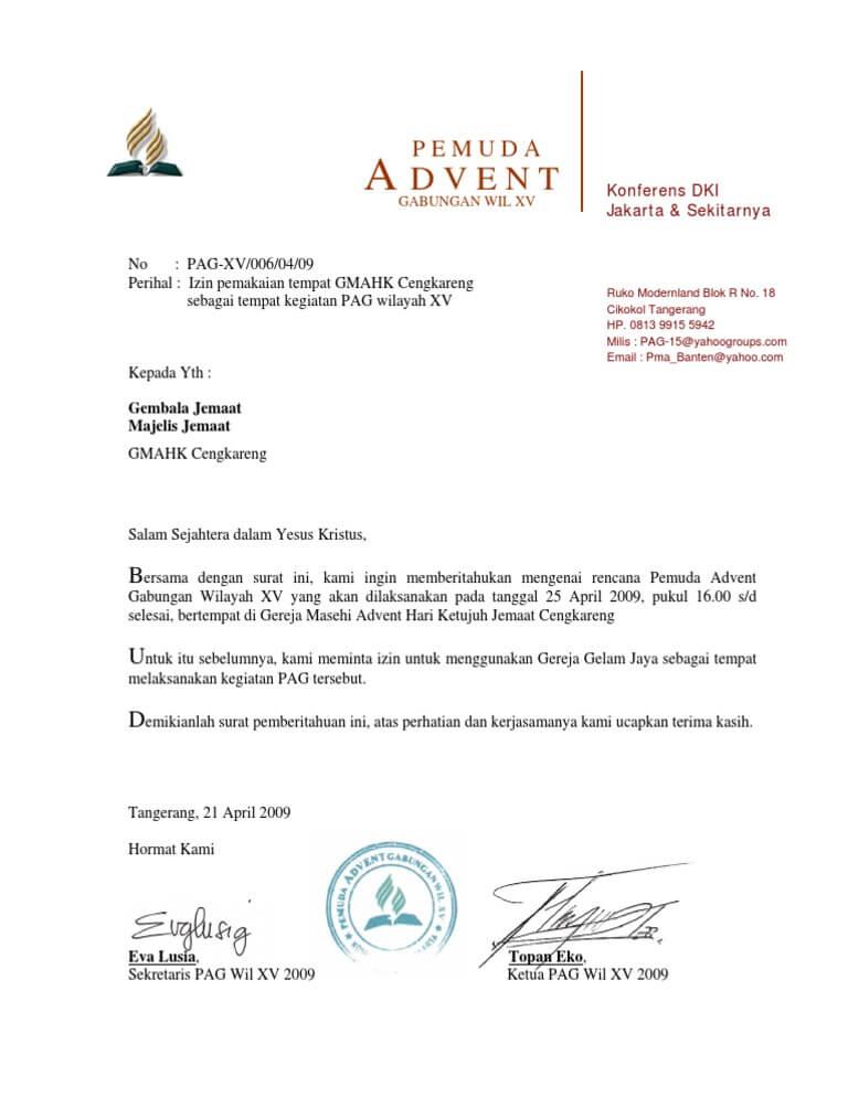 Contoh Surat Pemberitahuan Kegiatan Gereja