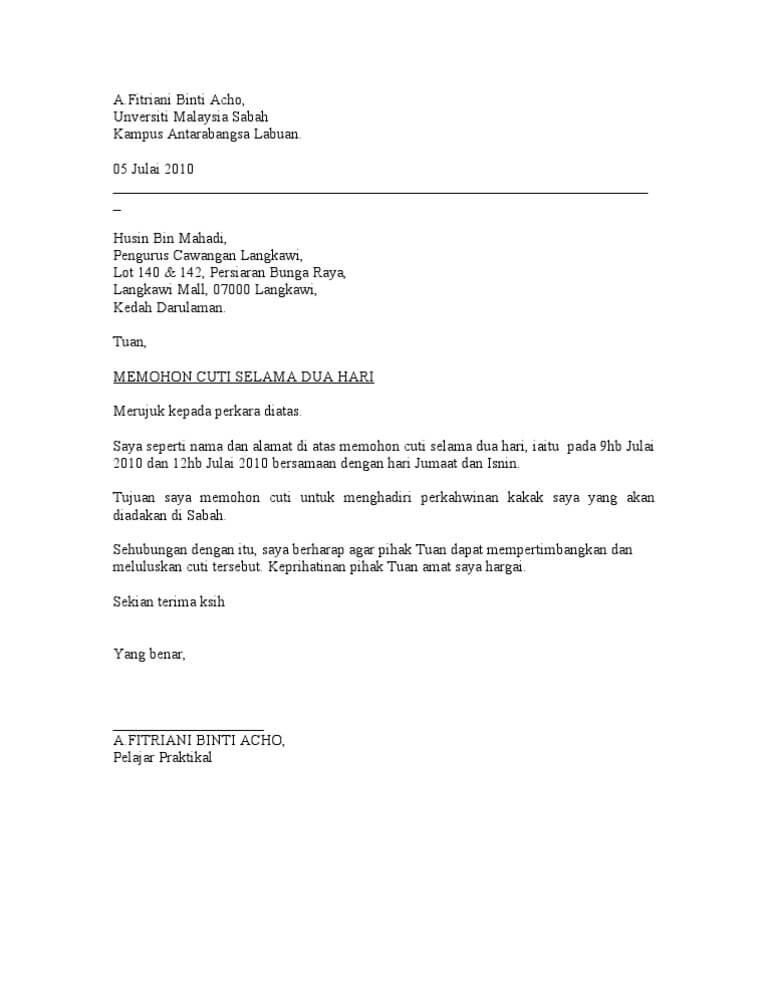 contoh surat cuti kerja