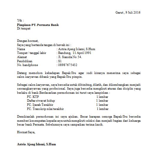 Contoh Surat Lamaran Kerja di Bank Permata