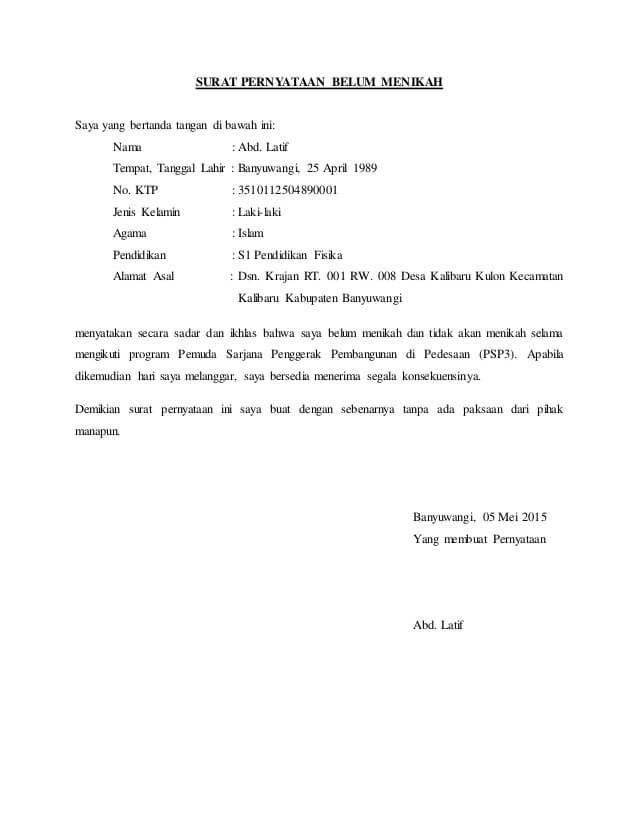 15 Contoh Surat Pernyataan Belum Menikah Contoh Surat