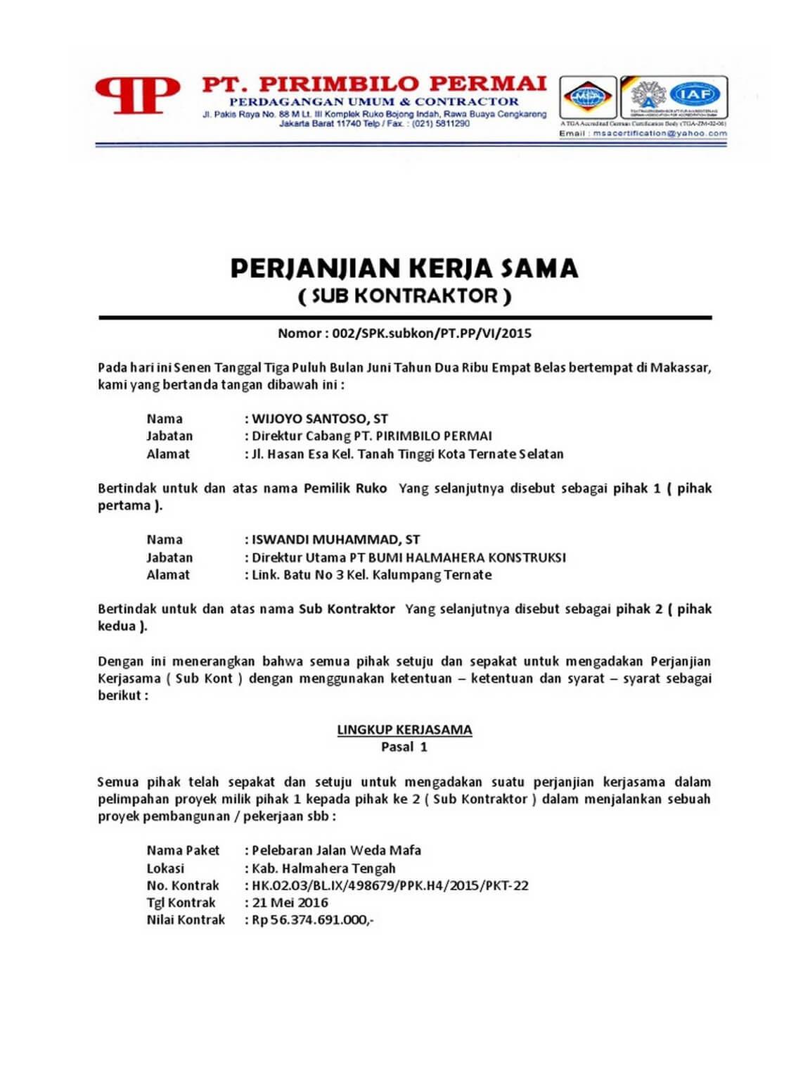 Contoh Surat Perjanjian Kerja Proyek