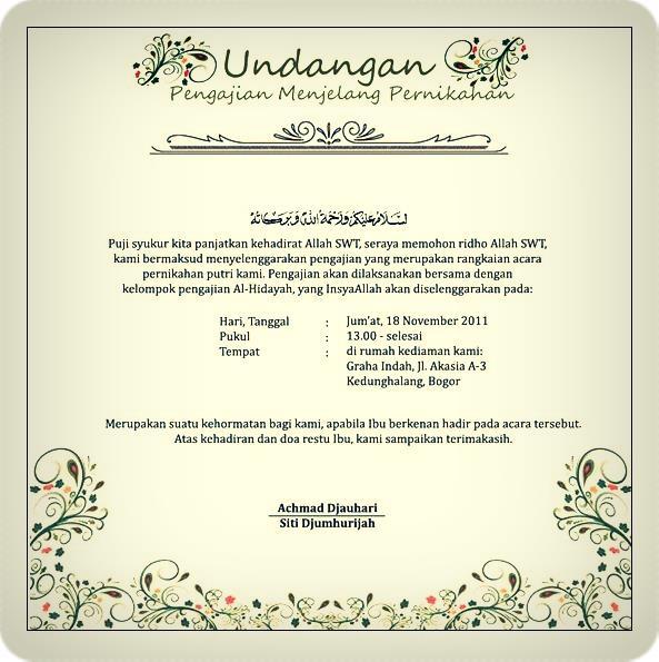 contoh undangan pengajian menjelang pernikahan