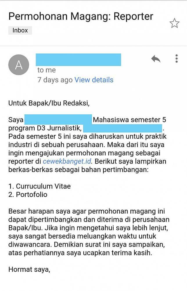contoh mengirim email magang ke perusahaan