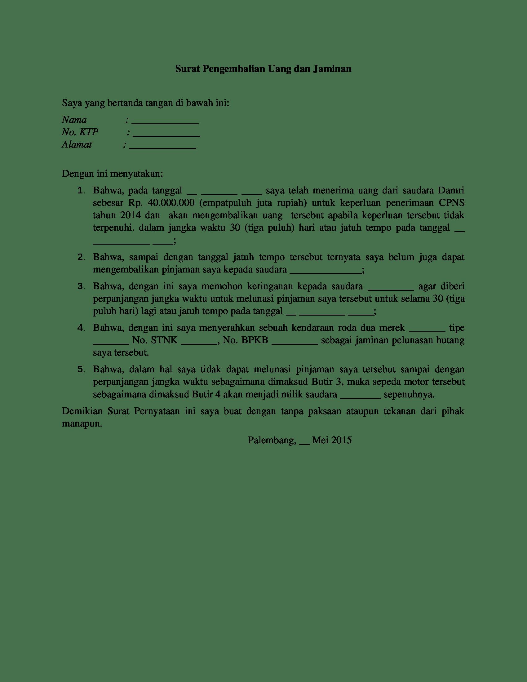 contoh surat perjanjian pengembalian uang