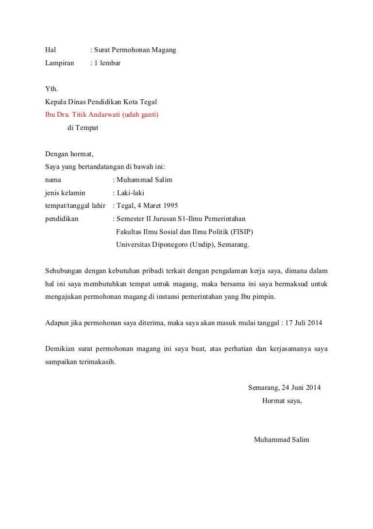 contoh surat permohonan magang di instansi pemerintahan