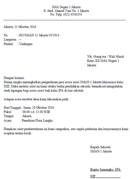 Contoh Surat Dinas Resmi Sekolah Yang Benar Contoh Surat