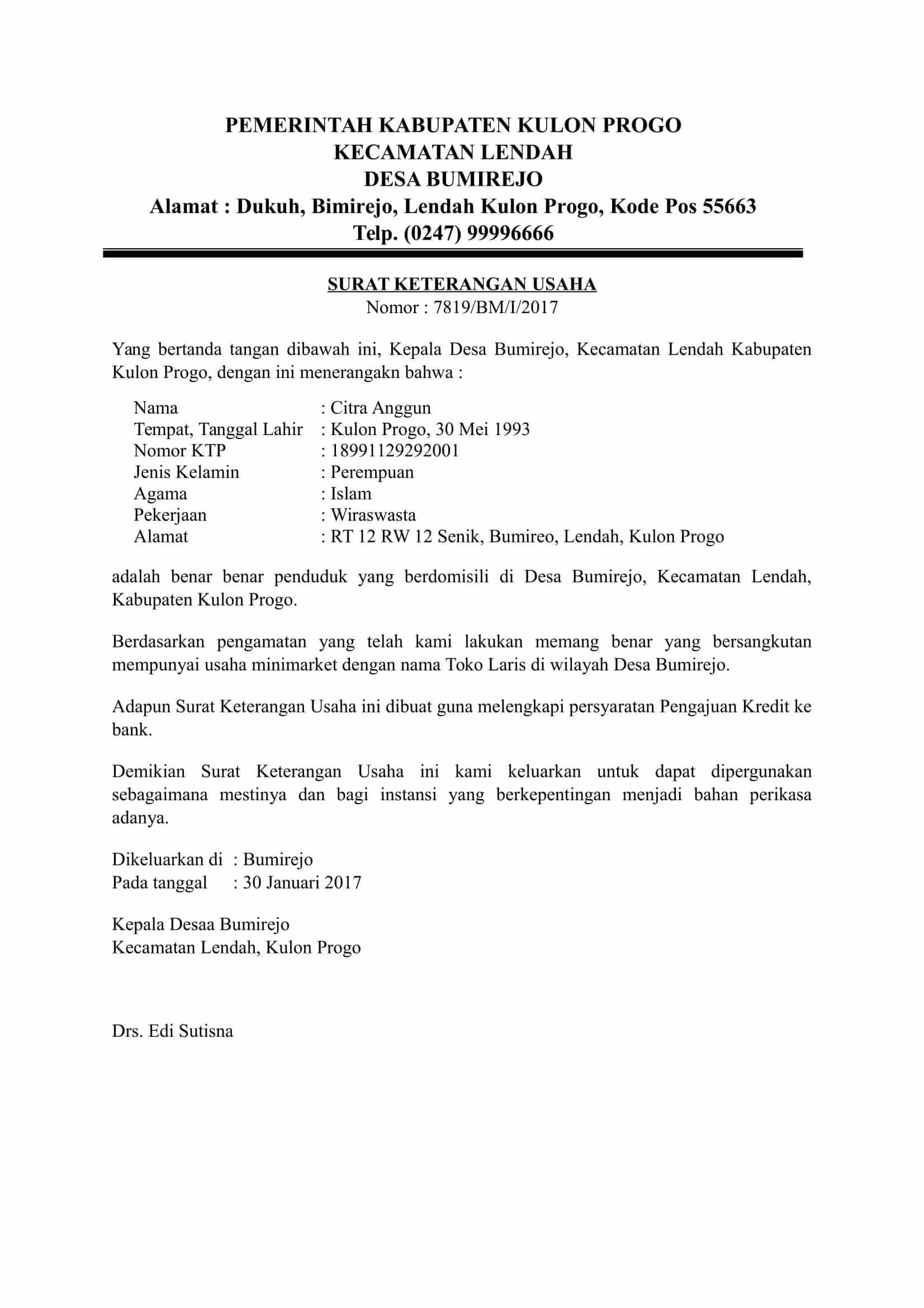 Contoh Surat Izin Usaha Ke Rt