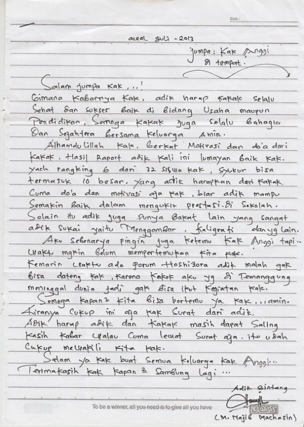 contoh surat untuk kakak tersayang