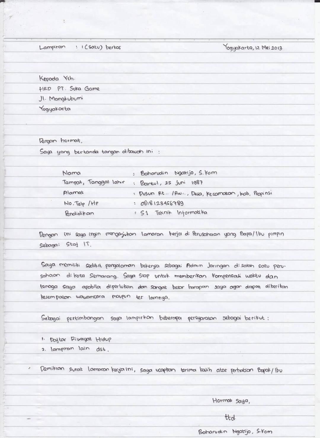 Contoh Surat Lamaran Kerja Di Folio