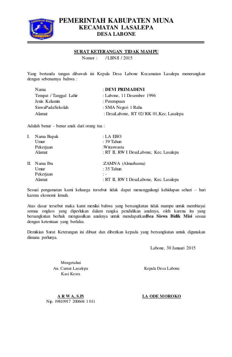 Contoh Surat Keterangan Tidak Mampu Dari Desa Ketua Rw