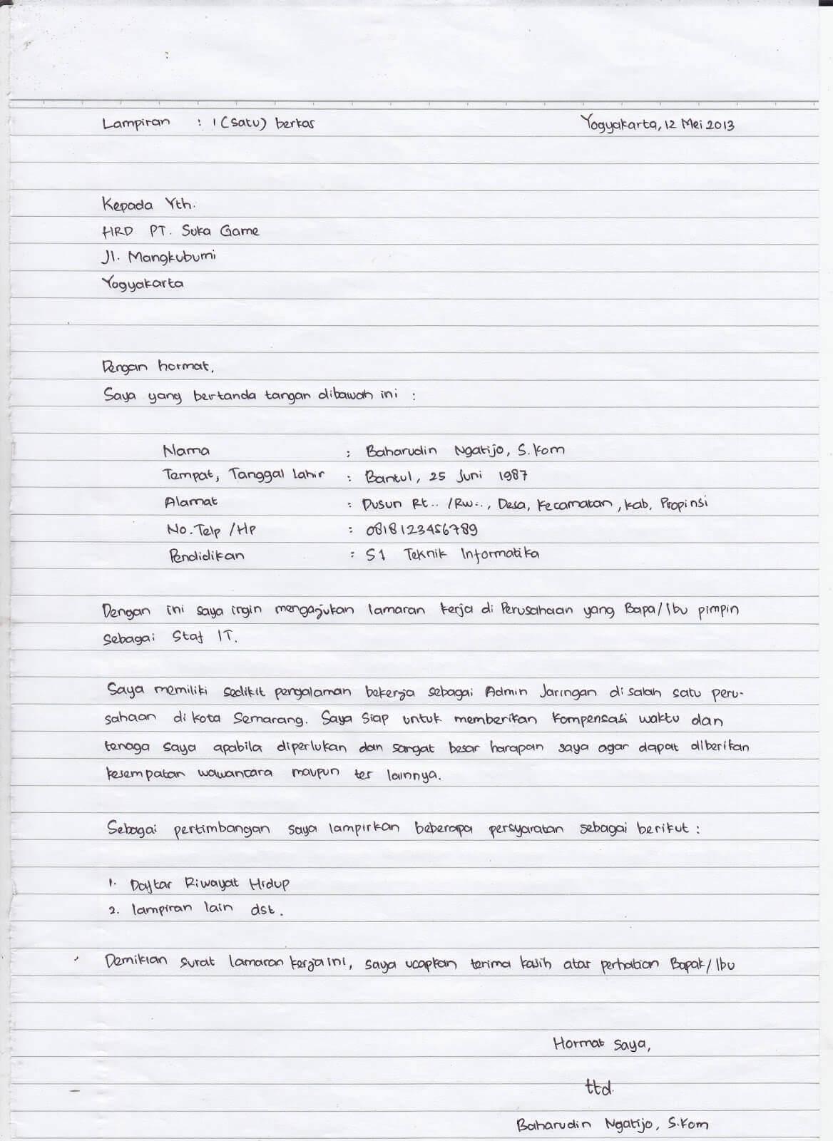 Contoh Surat Lamaran Kerja Tulis Tangan Sebagai Staff Karyawan