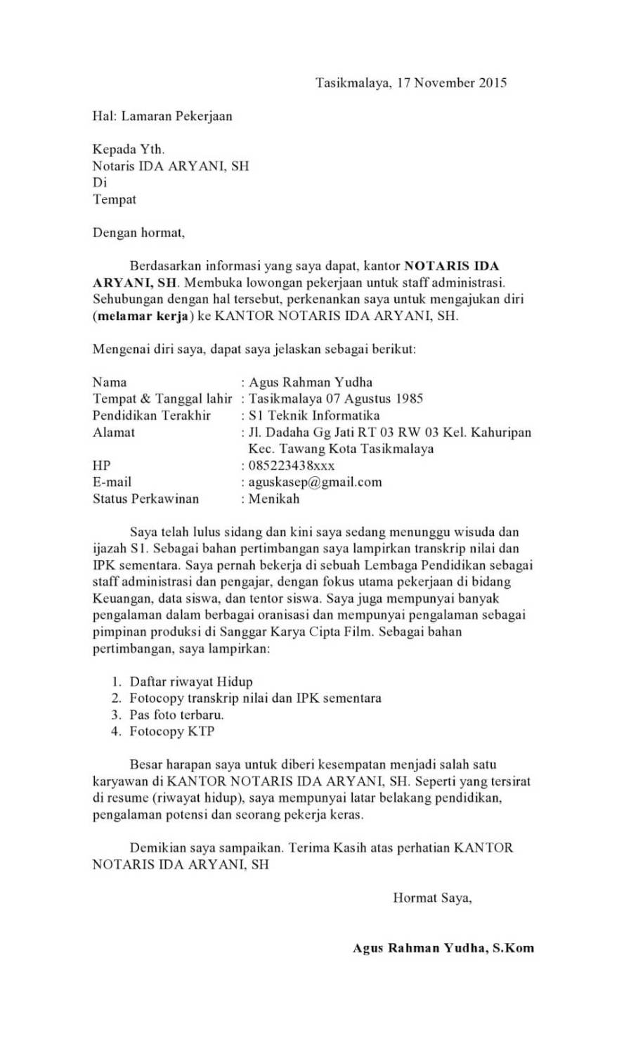 Contoh Surat Lamaran Kerja Administrasi Yang Baik Dan Benar