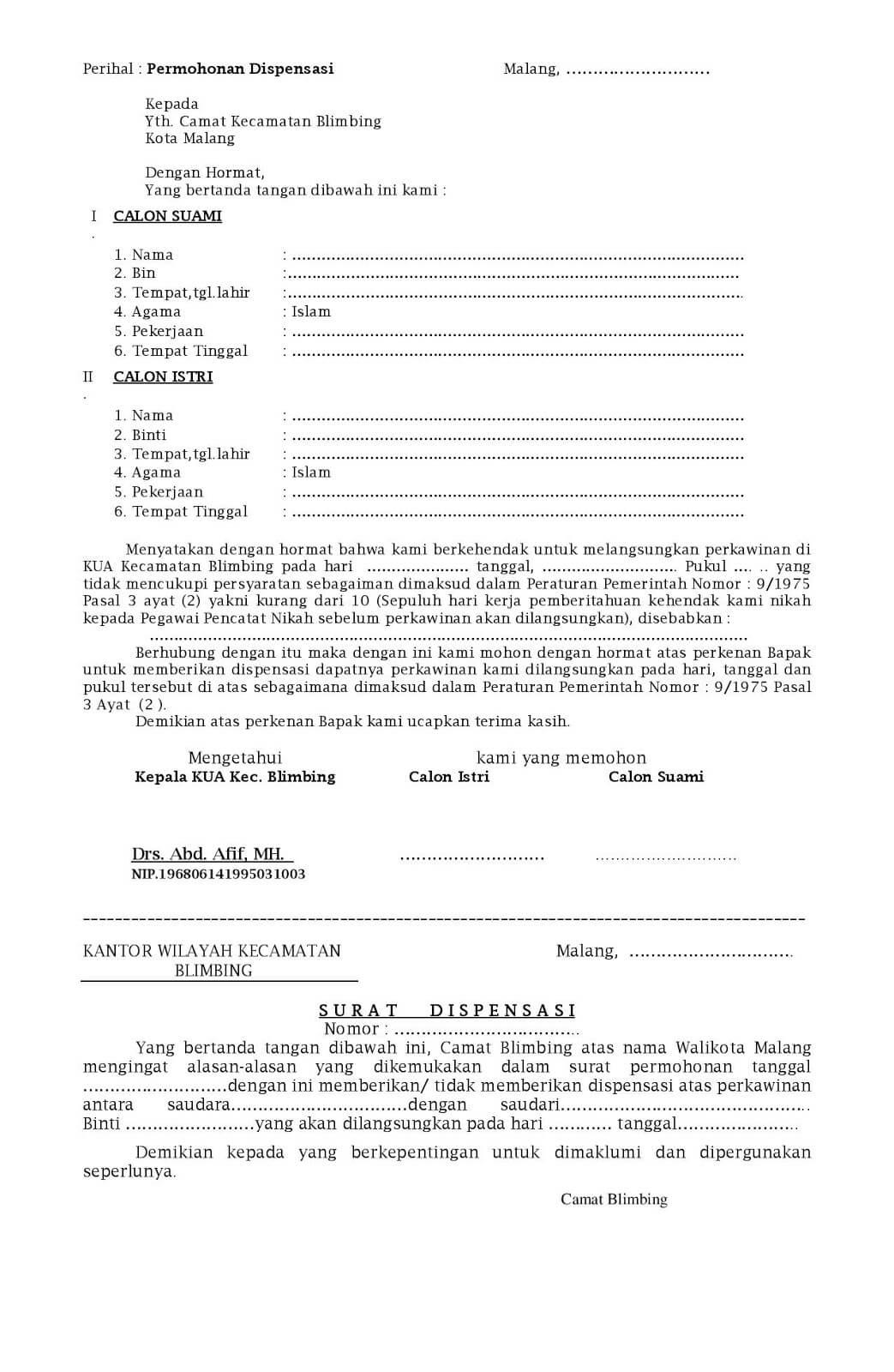 Contoh Surat Dispensasi Tidak Masuk Sekolah Kuliah Dan