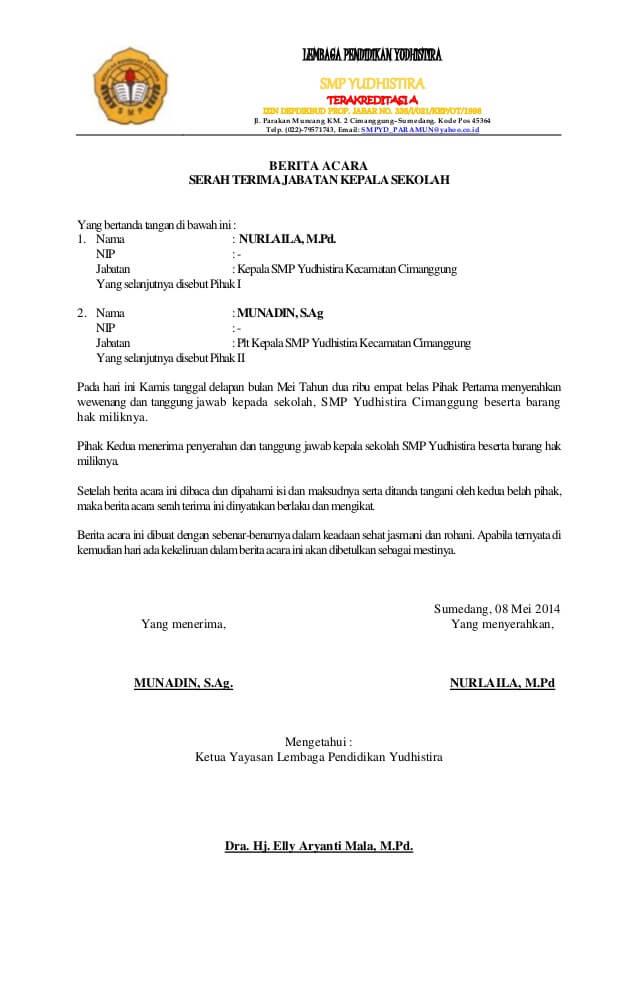 Contoh Surat Serah Terima Jabatan