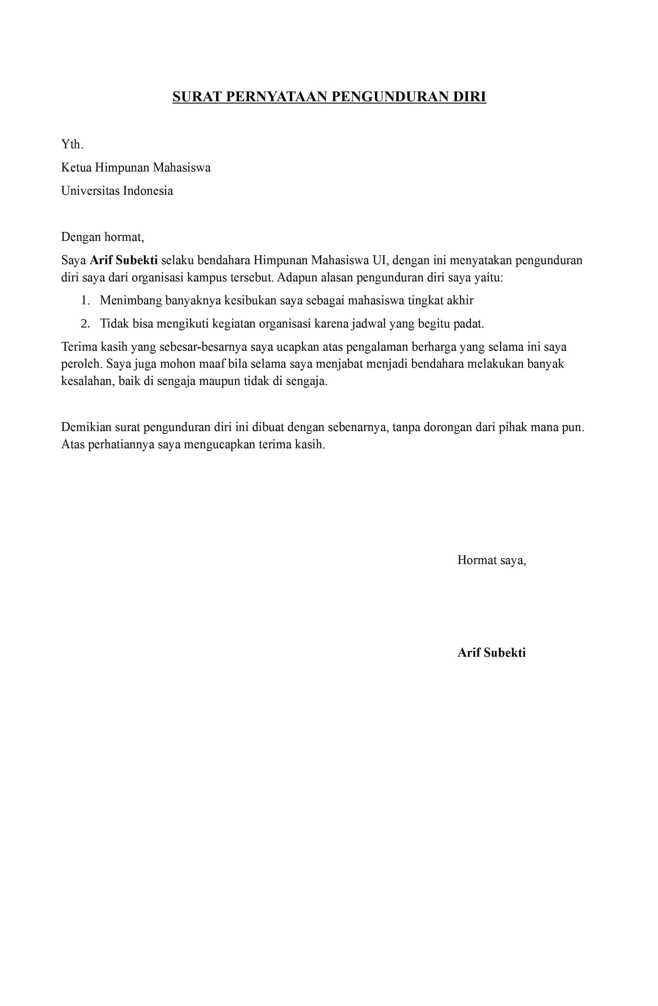 Contoh Surat Pengunduran Diri Di Organisasi Pramuka