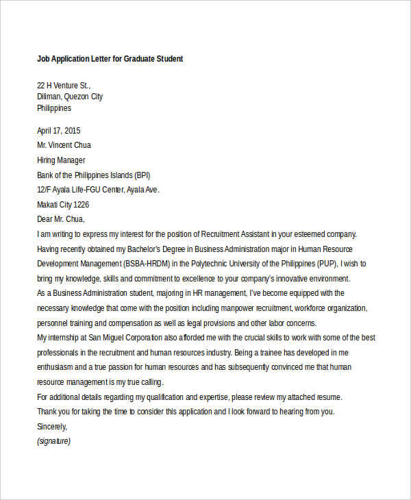 Application Letter For Undergraduate Student Sample