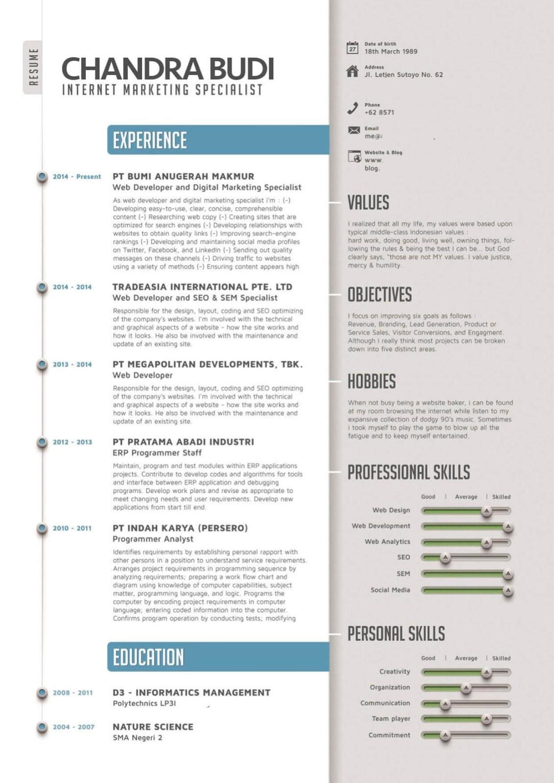 Contoh Cv Kreatif Sebagai Penguat Surat Lamaran Kerja Lengkap
