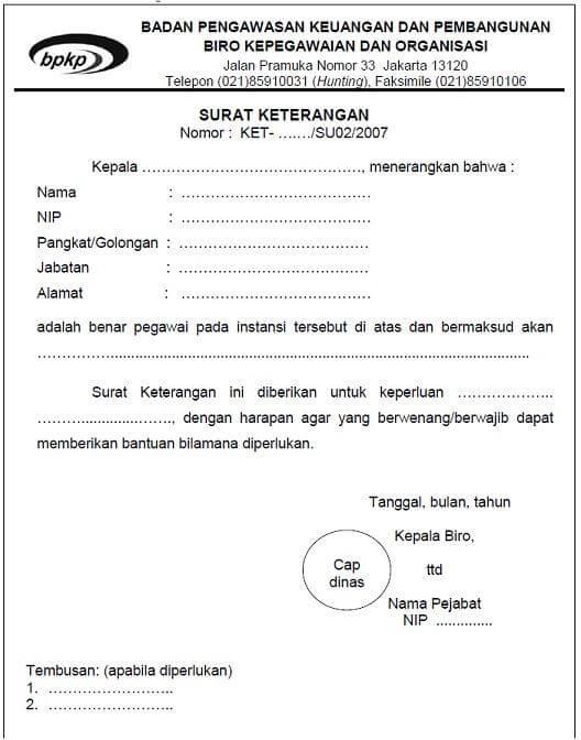 Contoh Surat Keterangan Kerja Instansi Pemerintah