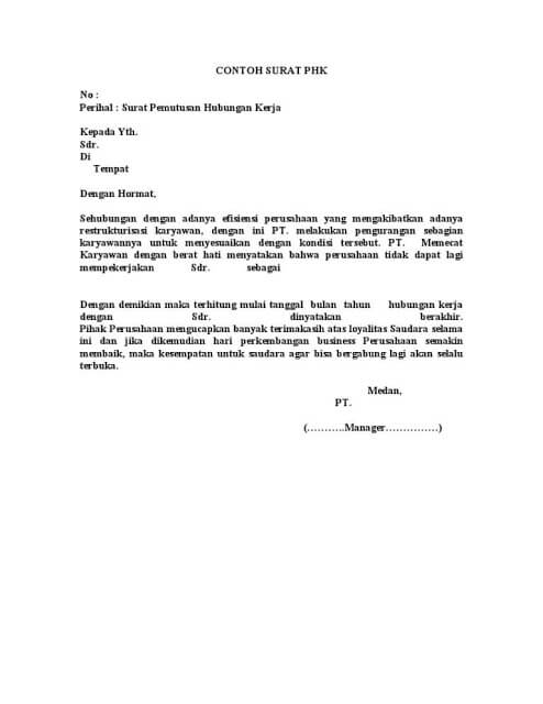 Contoh Surat Pemberhentian Kerja Sementara