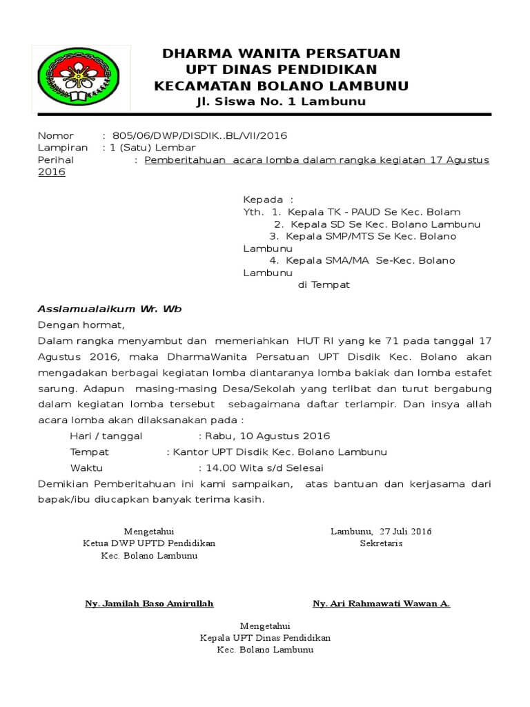 Kumpulan Contoh Surat Edaran Kegiatan Lomba 17 Agustus Hari