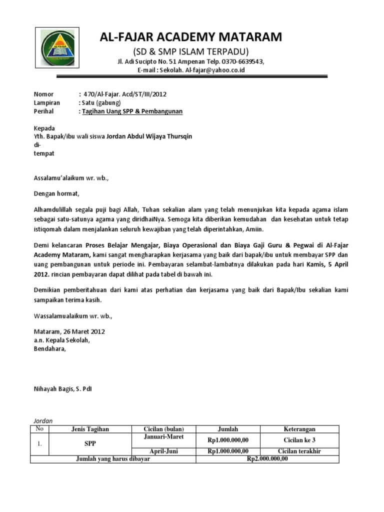 Contoh Surat Pemberitahuan Pembayaran Seragam