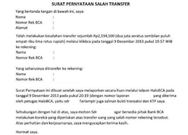 Contoh Surat Pernyataan Kesalahan Nomor Rekening