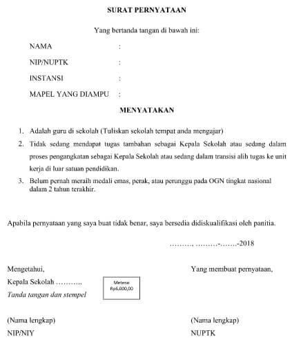 Contoh Surat Pernyataan Sekolah