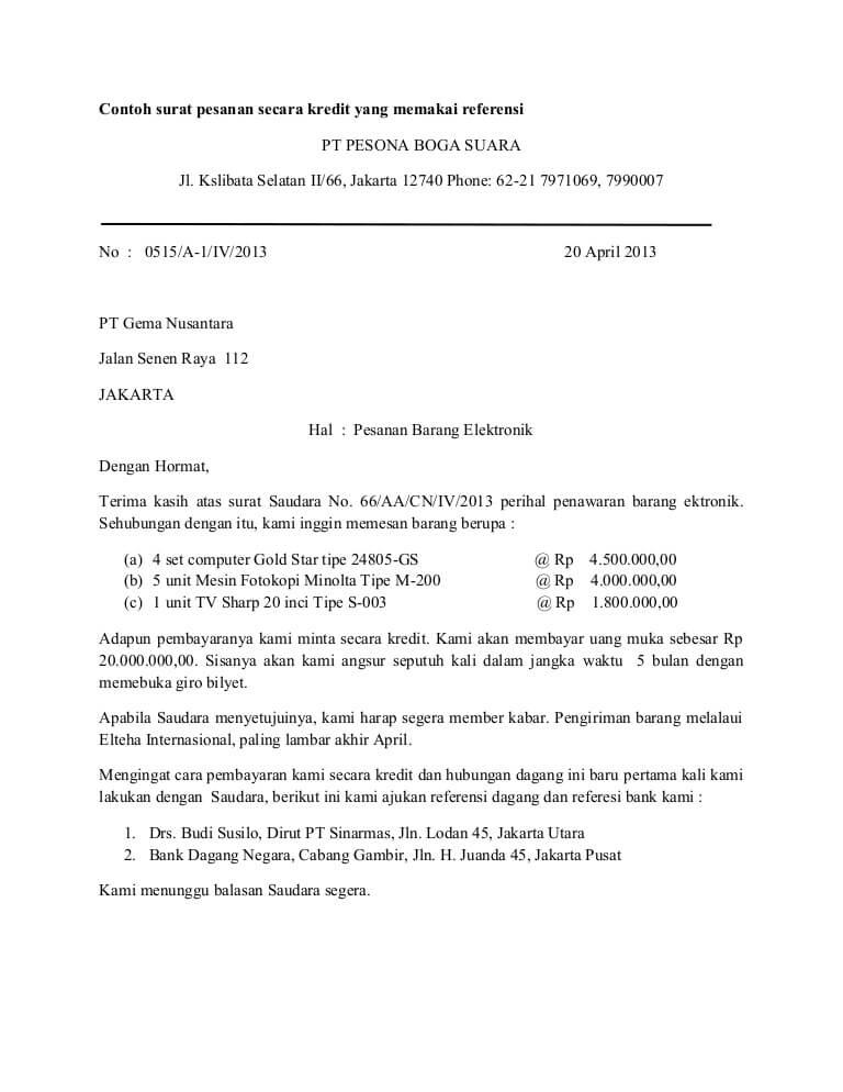 Contoh Surat Order Informasi Seputar Dunia Militer Dan