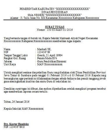 Contoh Surat Tugas Dinas Pendidikan