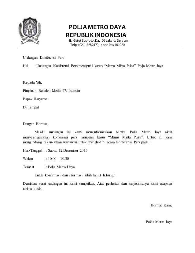 Contoh Surat Undangan Peliputan dan Konferensi Pers