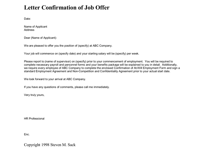 Job Offer Confirmation Letter for Employeer