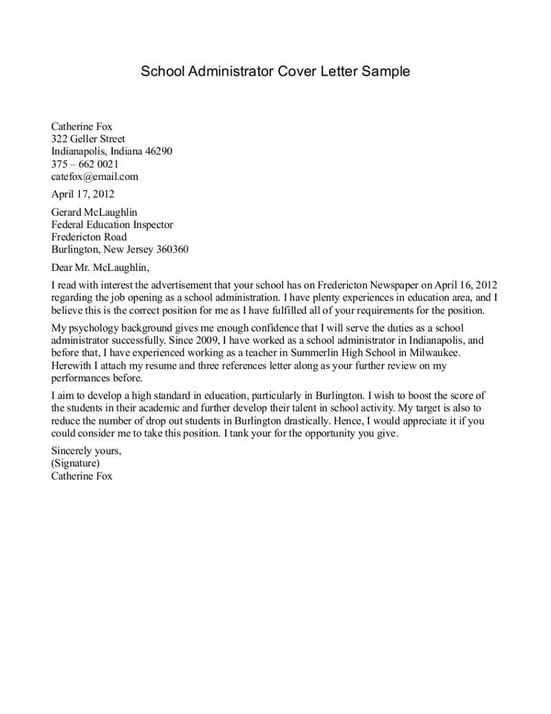 School Receptionist Cover Letter