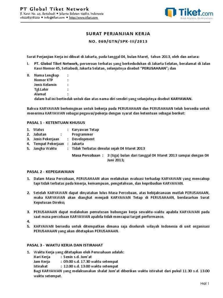 10 Contoh Kontrak Kerja Yang Baik Dan Benar Paling Komplit