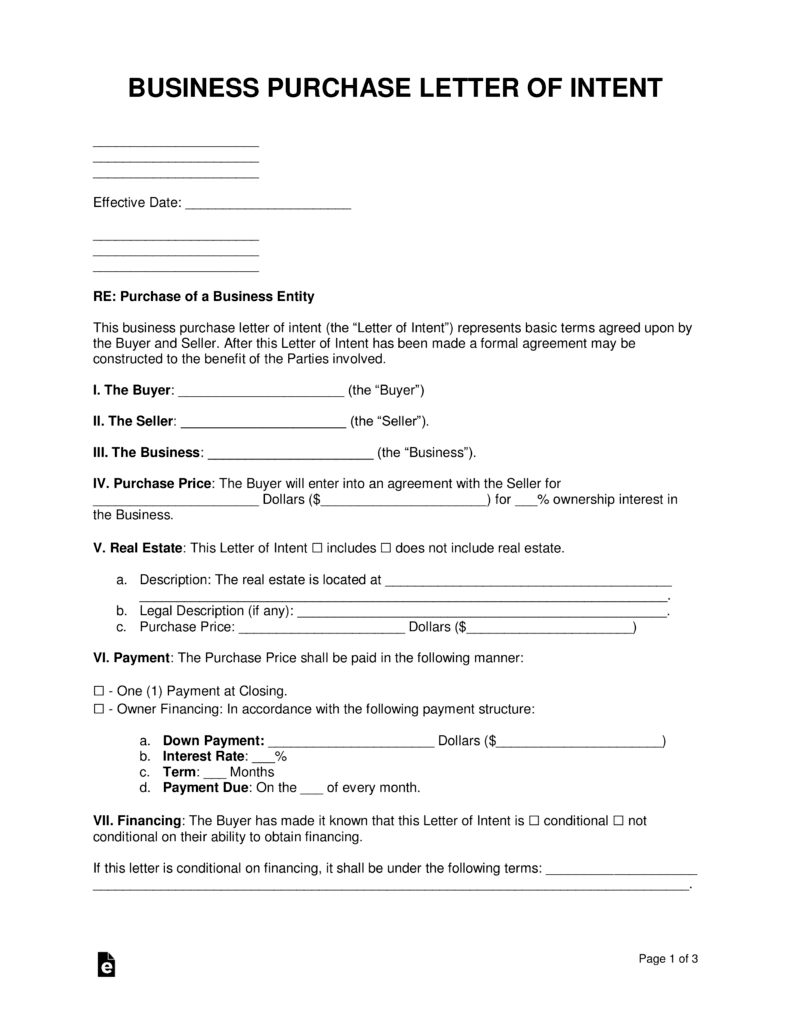 letter of intent for business purchase