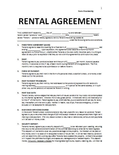 Rental Agreement Residential