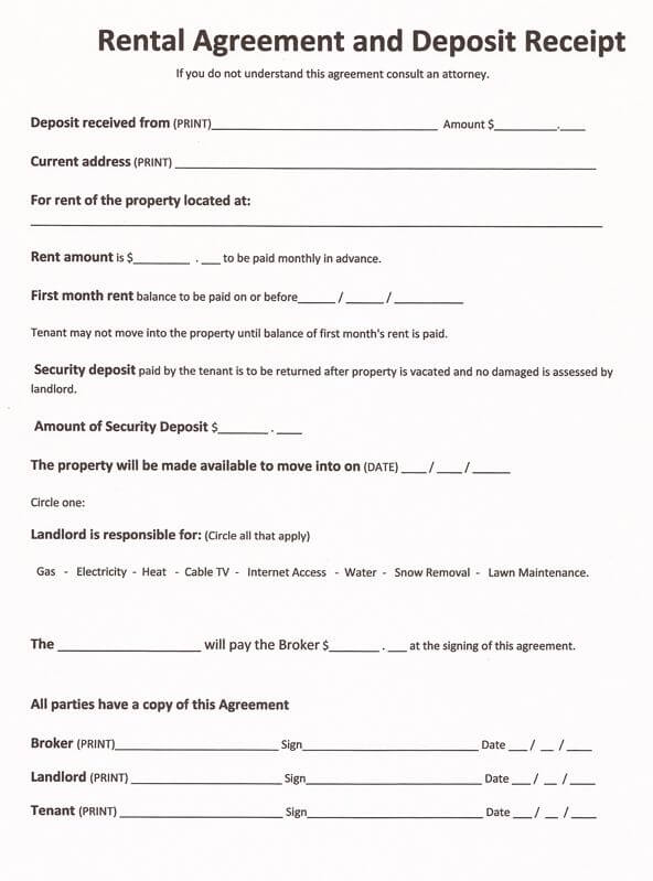 rental agreement printable