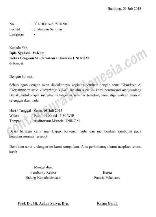 Contoh Surat Undangan Seminar Versi Ms Word Document