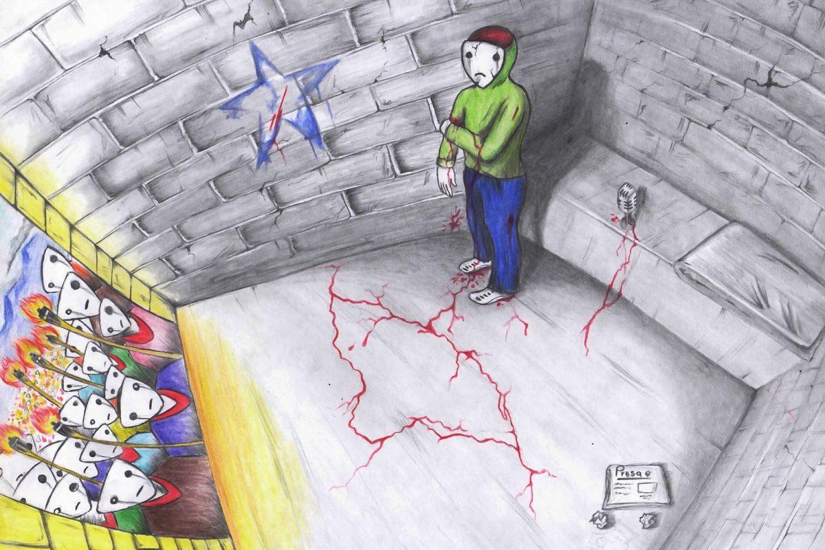 Las personas con máscaras blancas, sin género, representan al pueblo hondureño. Uno de ellos está en un cuarto gris, un poco maltratada por el tiempo, está herido. Se está desangrando. Es un periodista y no sabe qué hacer, está confundido. En la pared hay una estrella azul que representa el gobierno nacionalista que pretende gobernar una dictadura. Las personas de afuera protestan por el cambio en el país, están llorando por que no pueden sacar a su hermano del cuarto gris que lo agobia.