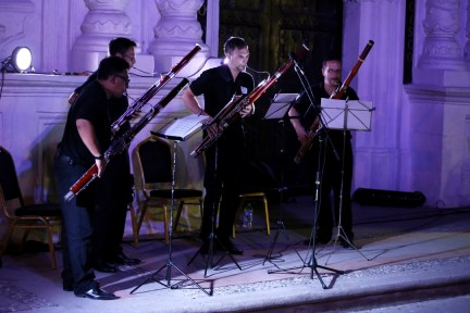 El cuarteto suizo Madera Fagottquartett durante su presentación en Santa Rosa de Copán.