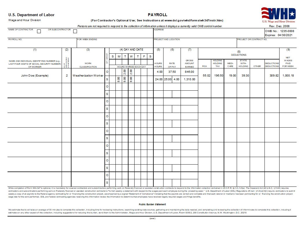 wh347 certified payroll - Certified Payroll Form