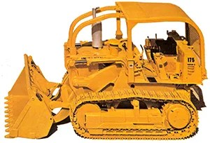 Fully outfitted 175C with sweeps attached to the front of the ROPS. This machine is almost certainly intended for forestry use as it also has the mesh guarding on the rear of the ROPS as well. 175s were very popular building logging decks, roads and on the landings' loading trucks.