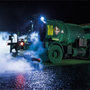 Asphalting took place at night to minimize interruptions